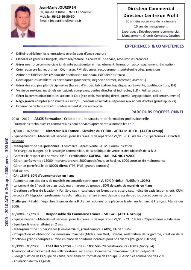 cv responsable maintenance en anglais