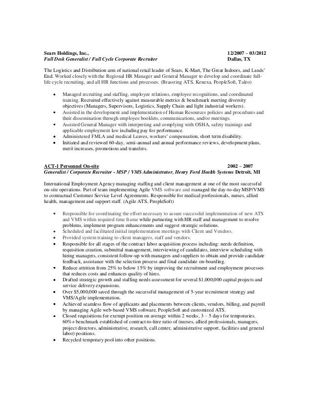 Recruiter Functional Resume Sample Professional Resume Cv Maker