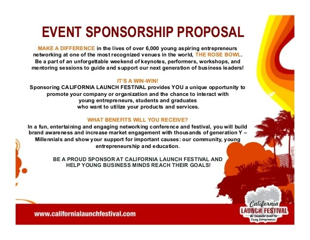 How To Write A Letter Requesting Sponsorship With Sample California Launch Festival 2014 Pitch Deck