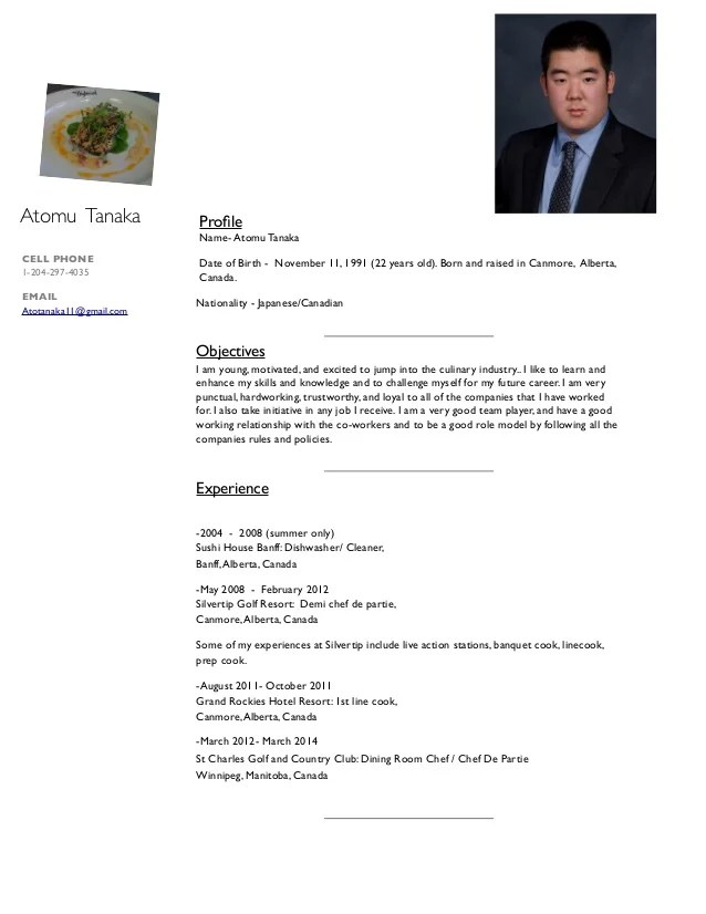 Sample resume for sushi chefs