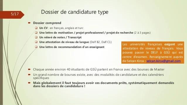 dossier de candidature cv lettre recommandations resume de projet