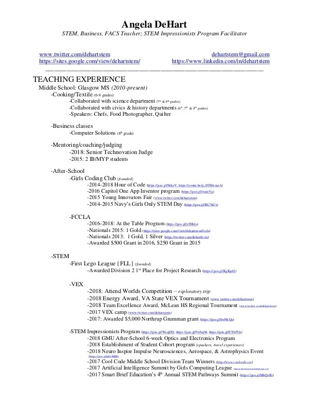 example of stem resume
