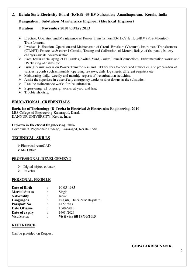 resume for electrical maintenance engineer radiovkm
