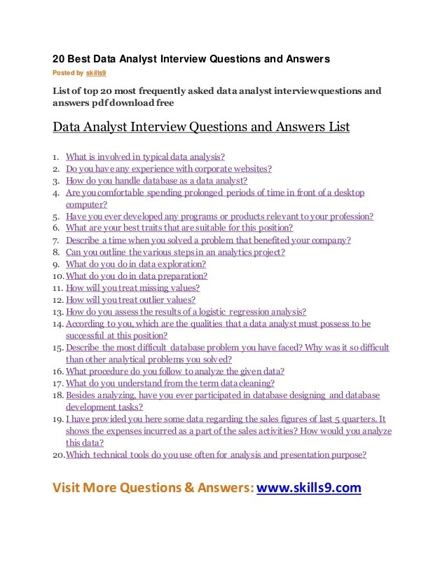 data analyst interview questions and answers - Onwebioinnovate