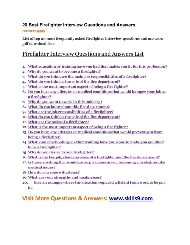 common firefighter interview questions
