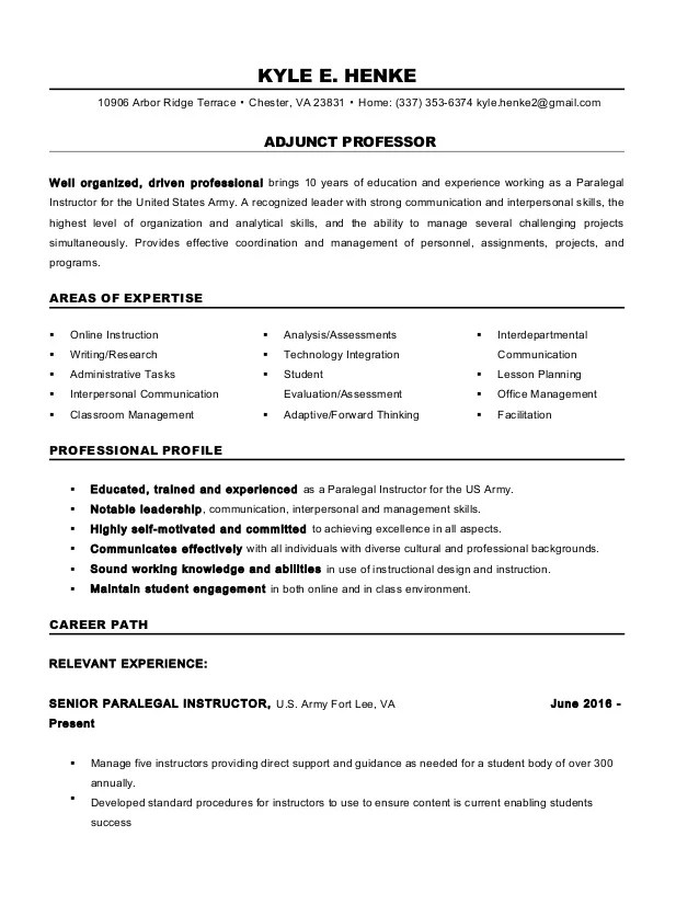 resume examples for adjunct instructor