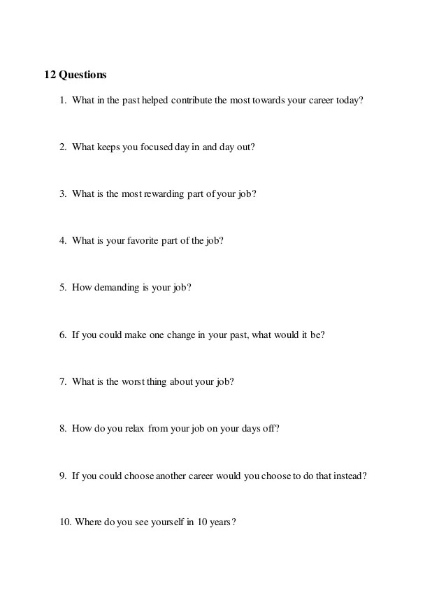 questions to ask on an informational interview