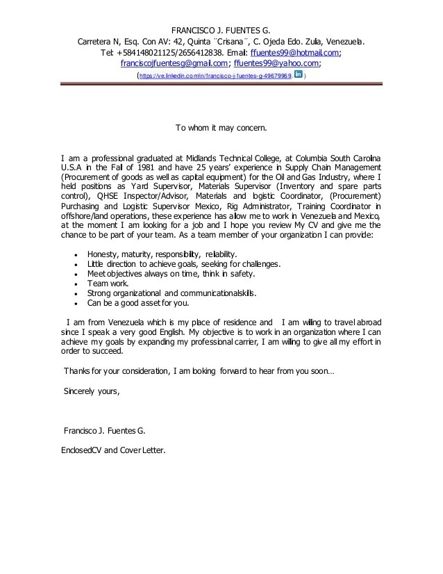 to whom it concerns cover letter - Trisamoorddiner