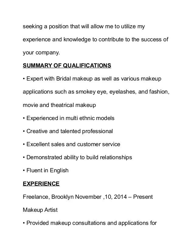 make up artists resume - Funfpandroid