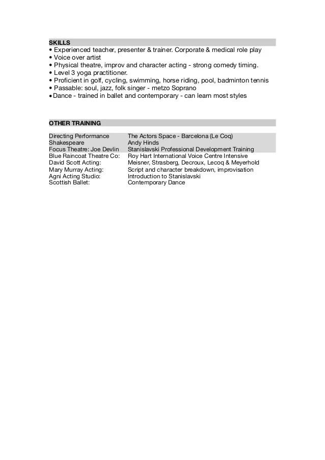 acting cv template - Jolivibramusic