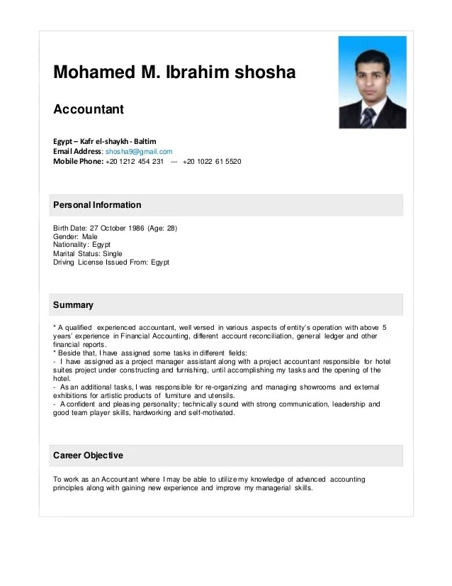 Senior Accountant Resume Samples Jobhero Mohamed Shosha Accountant Resume 2