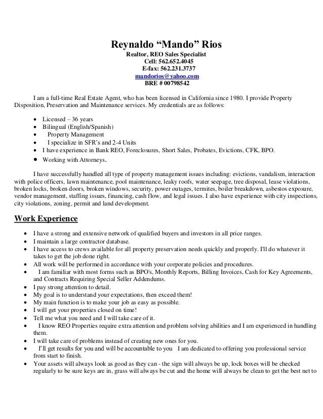 property preservation resume sample - Funfpandroid