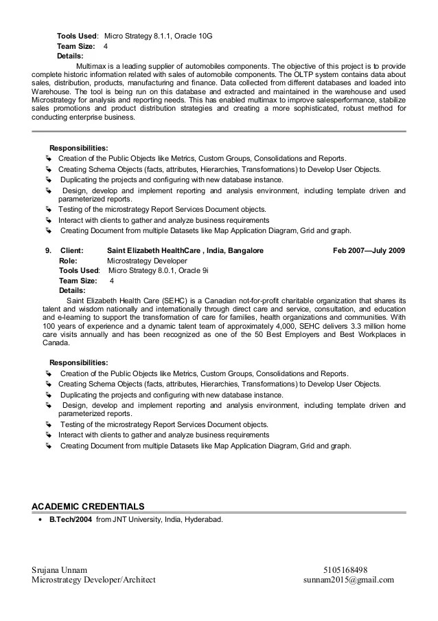 Microstrategy Architect Sample Resume Microstrategy Architect - microstrategy architect sample resume