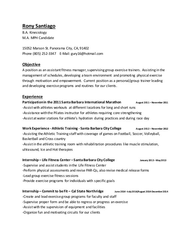 Resume Examples For Kinesiology – Pilates Instructor Resume