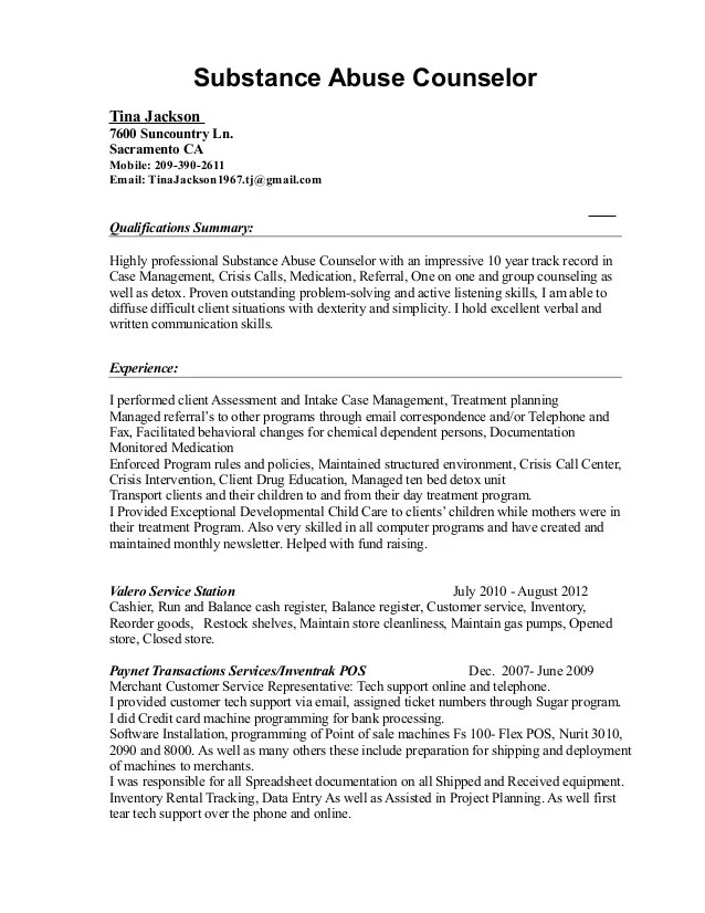 substance abuse counselor resume