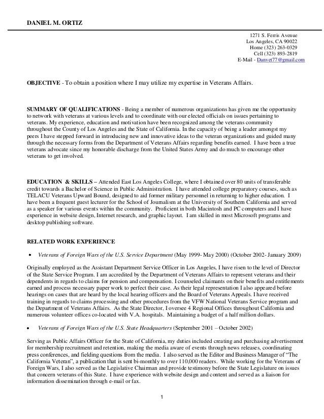 resume examples for veterans