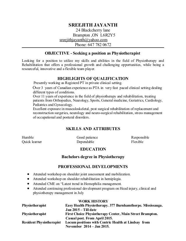 resume physiotherapist - Ozilalmanoof