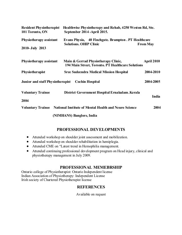 assistant physiotherapist resume resume format of physiotherapist