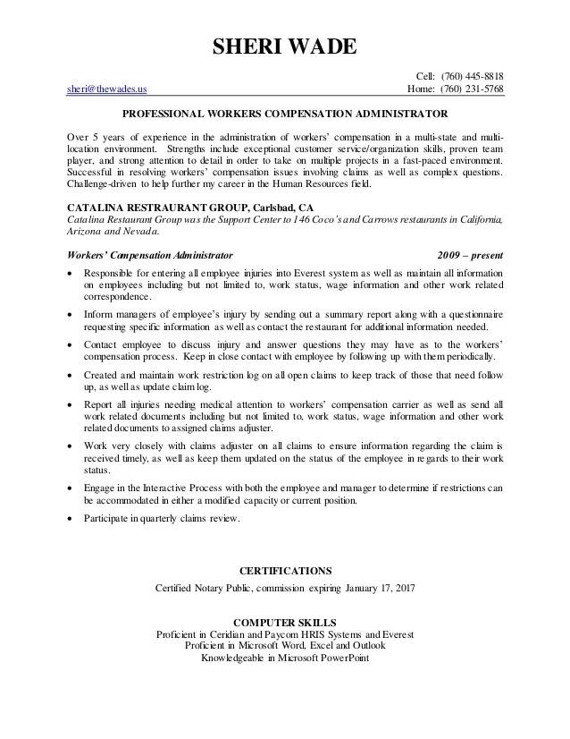 sample workers compensation adjuster resume