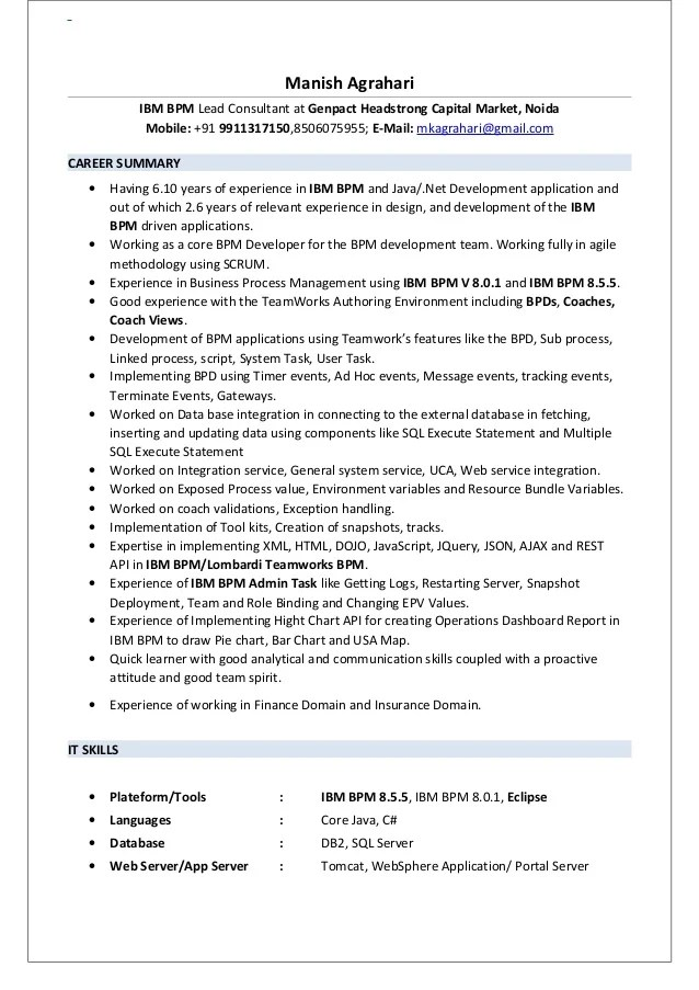 Attractive Bpm Consultant Sample Resume] Resume Manish Agrahari Ibm Bpm, Bpm ..