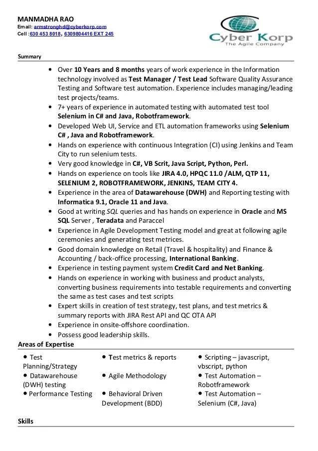 sample resume for qa test lead