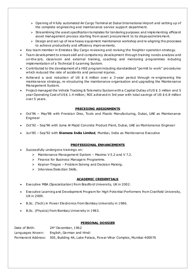 resume templates for automated system