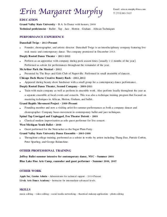 Professional dance resume examples
