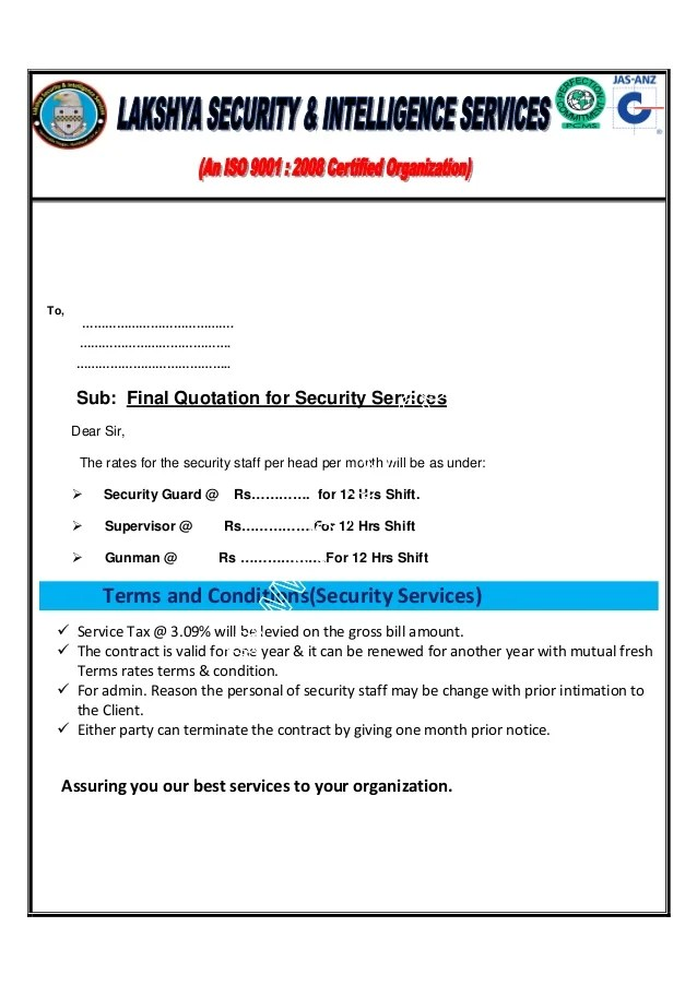 Sample Enquiry Letters For Quotation Careerride Lakshya Security And Intellignce Services