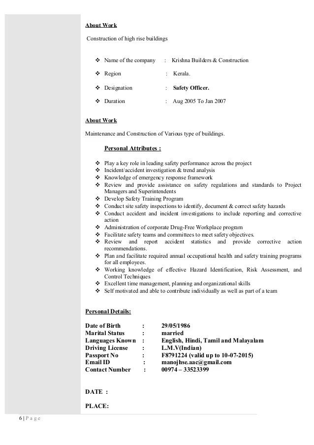 regional hse manager resume