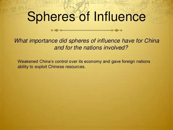 what importance did spheres of influence have for china