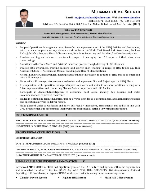 Occupational Health And Safety Resume Examples Occupational Health - safety specialist resume