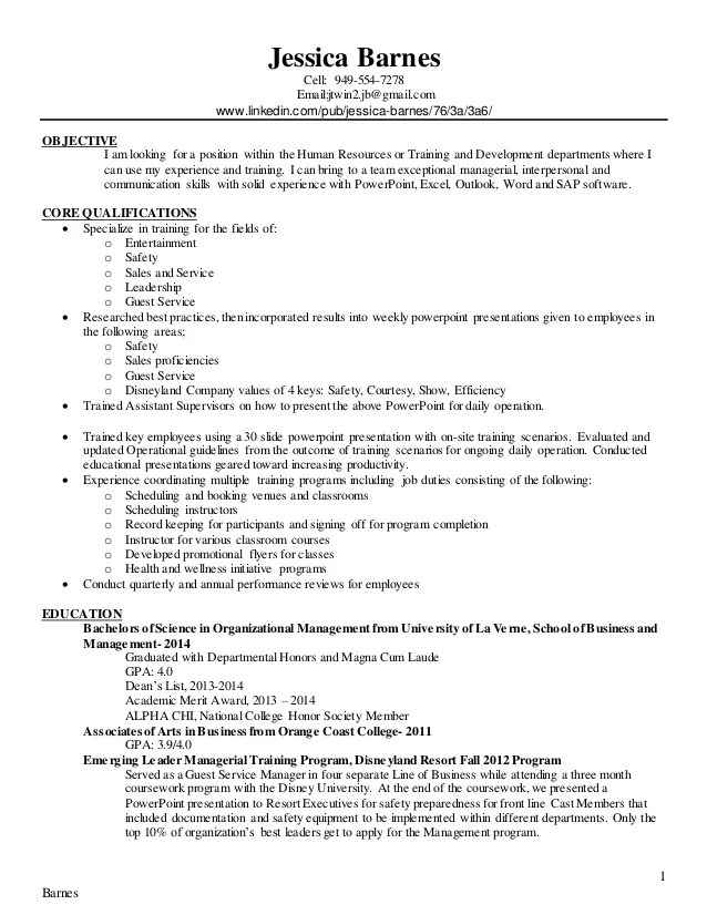 training and development resume - Onwebioinnovate - training resume