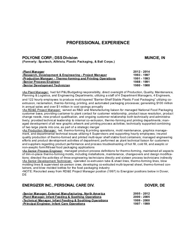 plant manager resumes - Josemulinohouse - research and development manager resume