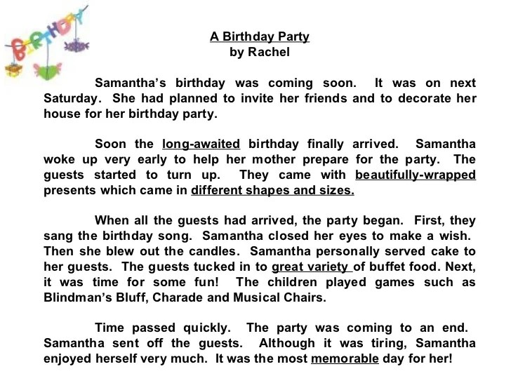 Essay on my friend birthday party