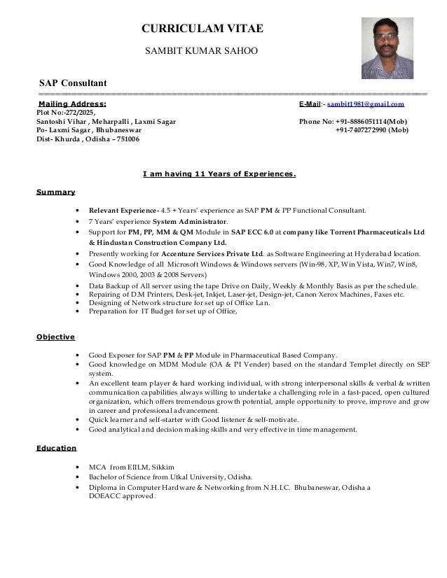 sap sd techno functional consultant sample resume