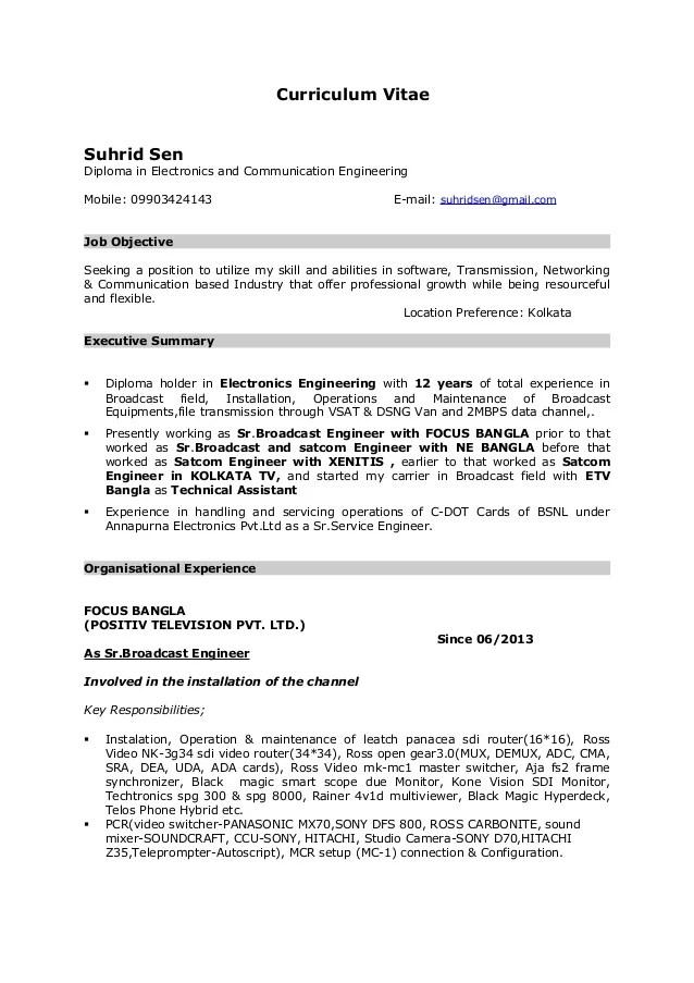 Broadcasting Engineer Resume Professional Broadcast Engineer - broadcasting engineer resume