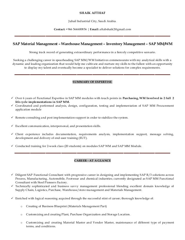 sap mm consultant resumes - Onwebioinnovate - sap mm consultant sample resume
