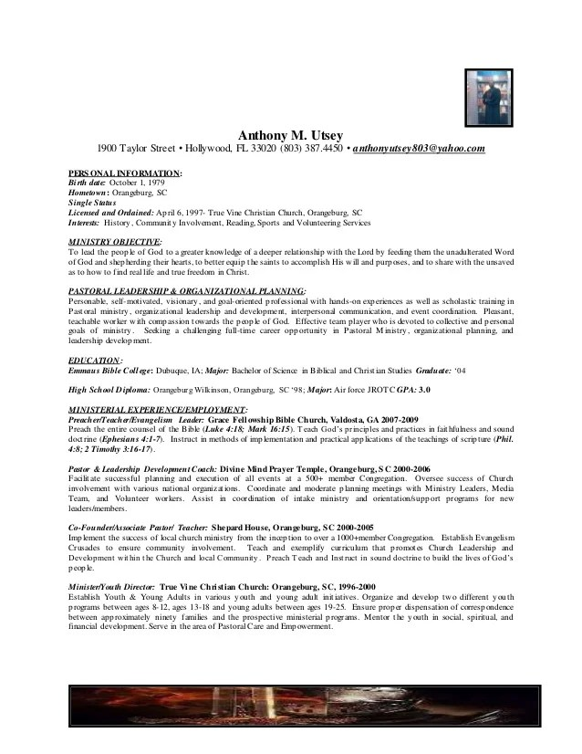 example of pastoral resume