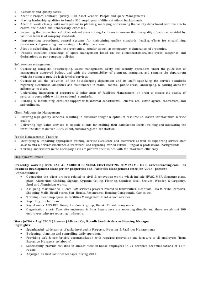facilities manager cv - Ozilalmanoof - Facilities Operations Manager Sample Resume