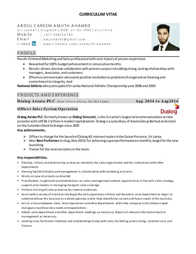 cv sales executive