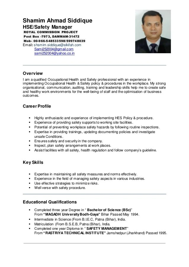 occupational health and safety resume examples - Bire1andwap