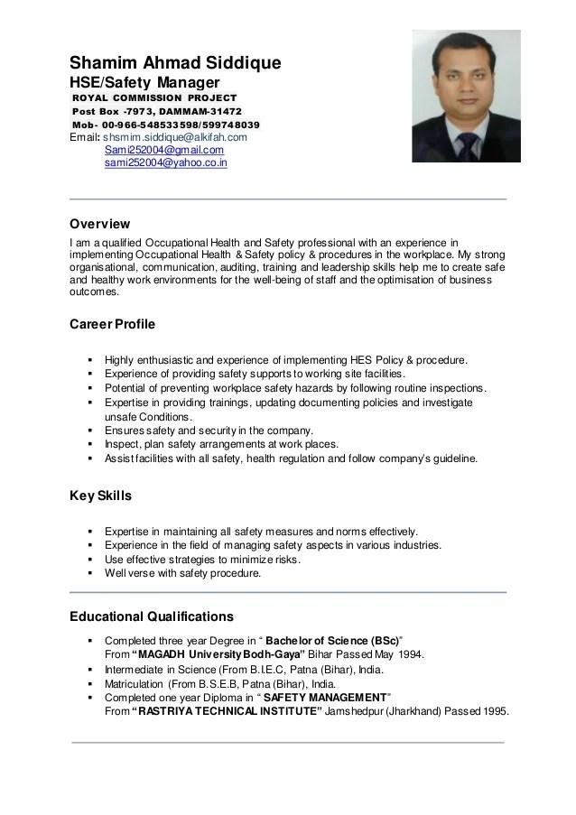 Project Manager Resume Best Sample Resume Shamim Ahmad Hse Manager Cv