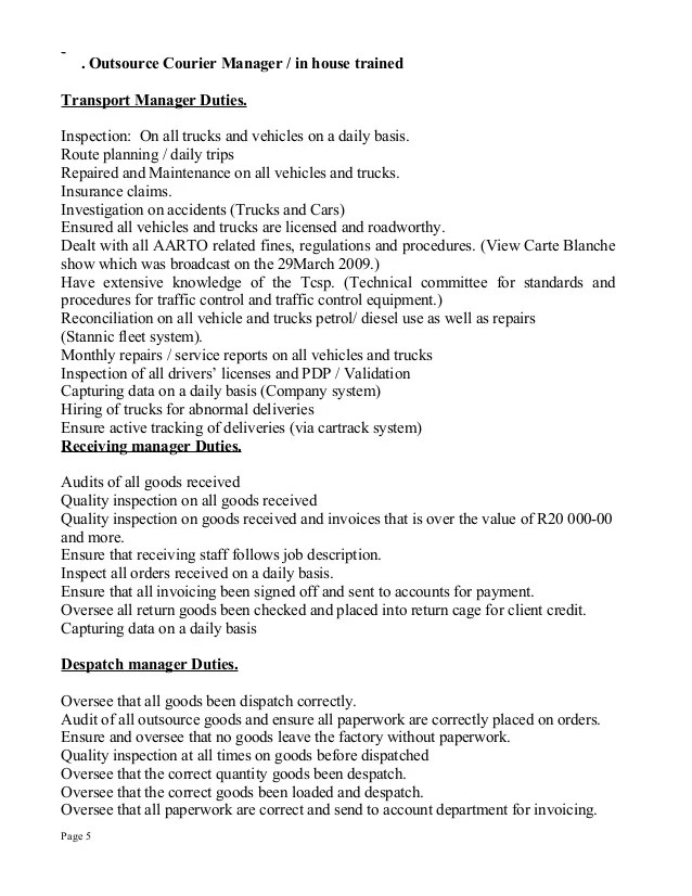 Sample Cover Letter Courier Driver