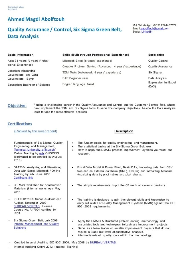 qa qc resume samples - Apmayssconstruction