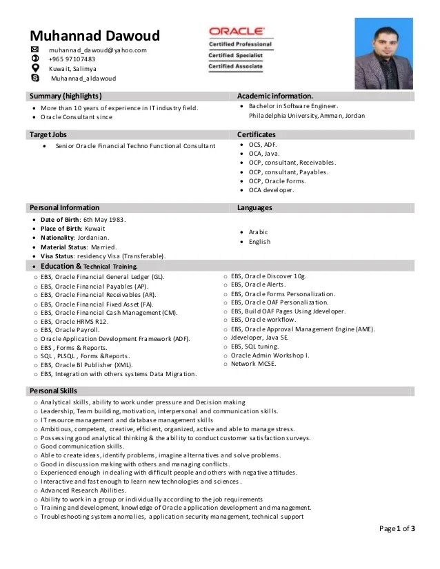 oracle consultant resume - Onwebioinnovate - employment consultant resume