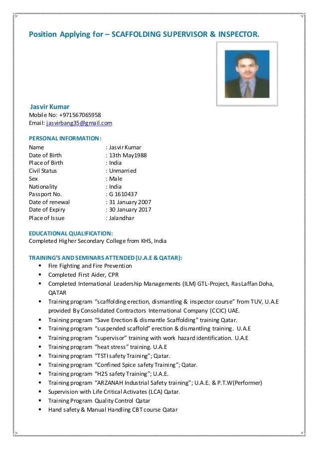 scaffolding supervisor resume examples