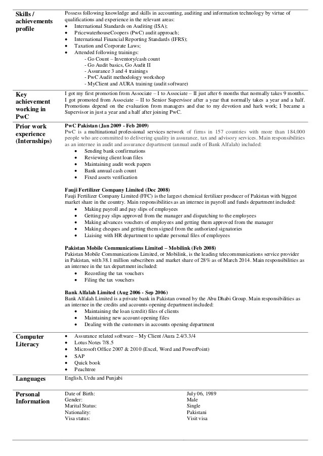 sample pwc resume