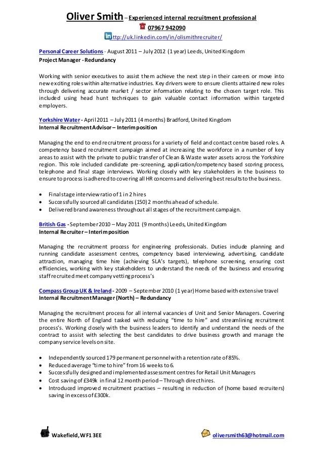 recruitment cv - Goalgoodwinmetals - recruiter consultant resume