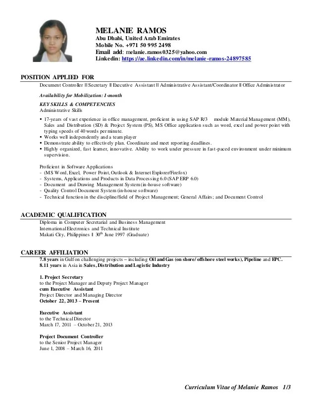 mobile resume sample