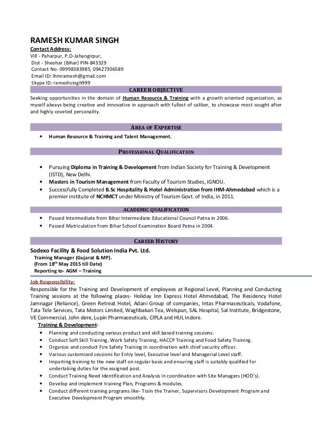 resume examples for hr manager